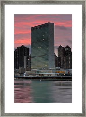 Headquarters Of The United Nations Framed Print by Juergen Roth