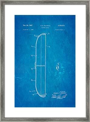 Headrick Frisbee 2 Patent Art 1967 Blueprint Framed Print by Ian Monk