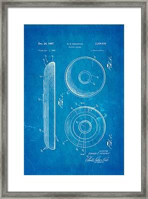Headrick Frisbee Patent Art 1967 Blueprint Framed Print by Ian Monk
