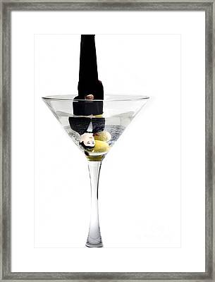 Heads Down Into The Martini Glass.it Was A Very Bad Date Framed Print by Linda Matlow