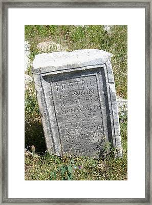 Headstone In The Basilica Church Aphrodisias Framed Print by Tracey Harrington-Simpson