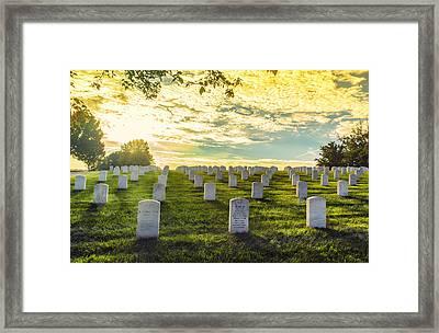 Headstones Basking In Sunlight Framed Print by Bill Tiepelman