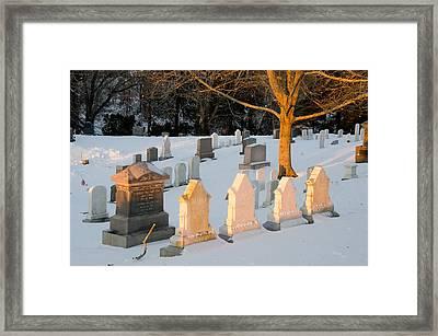 Headstones In Winter 3 Framed Print