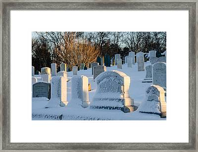 Headstones In Winter Framed Print