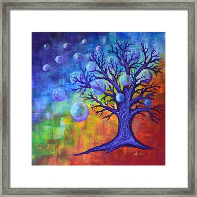 Framed Print featuring the painting Healing Bubbles by Agata Lindquist