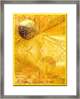 Healing In Golden World Framed Print by Ray Tapajna