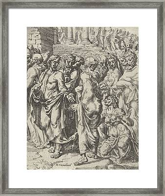 Healing Of A Woman Suffering From Hemorrhages Framed Print by Dirck Volckertsz Coornhert