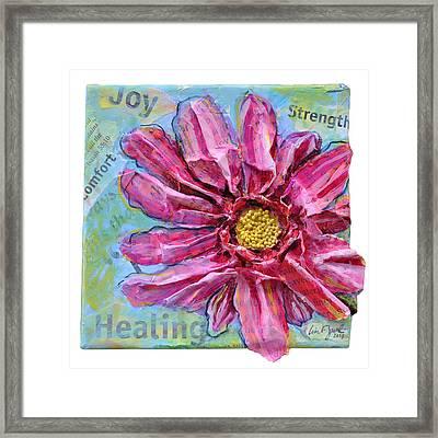 Healing Pink Zinnia Framed Print