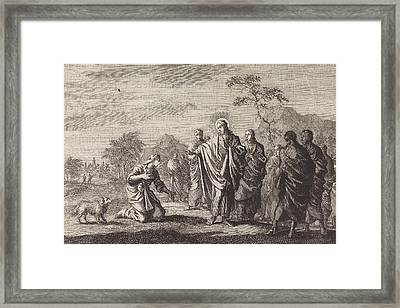 Healing The Daughter Of The Canaanite Woman Framed Print by Jan Luyken And Pieter Mortier