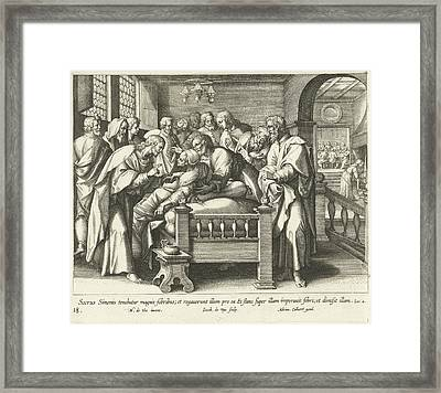 Healing The Mother Of Peter, Jacques De Bie Framed Print by Jacques De Bie And Adriaen Collaert