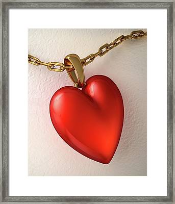 Hear Shaped Locket Framed Print by Leonello Calvetti