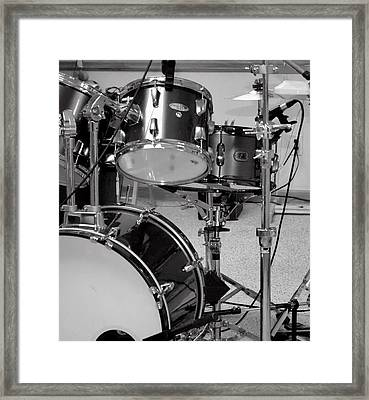 Hear The Music - A Drum Set Up For Recording Framed Print