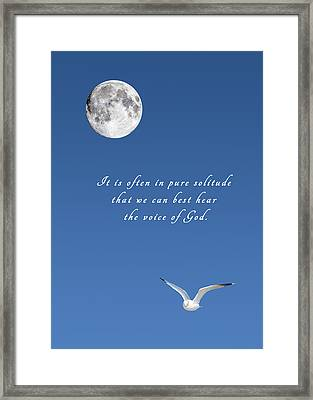 Hearing The Voice Of God. Framed Print
