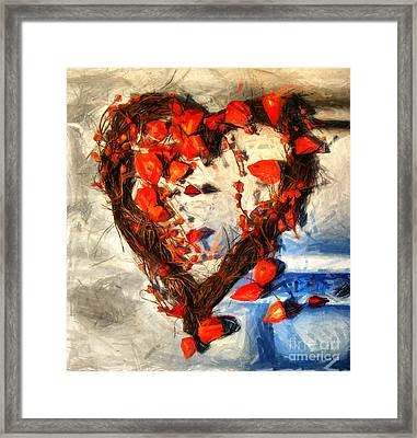 Heart And Flowers Framed Print by Daliana Pacuraru