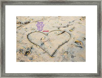 Heart And Words Framed Print by Joseph S Giacalone