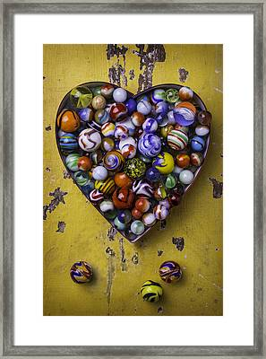 Heart Box Full Of Marbles Framed Print by Garry Gay