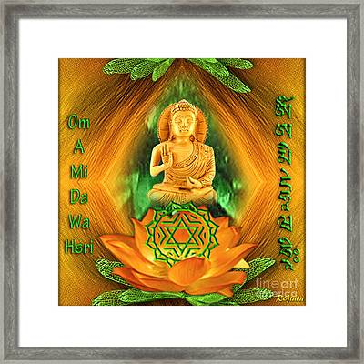 Framed Print featuring the digital art Heart Chakra And Mantra - Spirituality Art By Giada Rossi by Giada Rossi