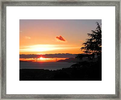Heart Cloud Over Golden Gate Bridge Framed Print