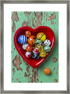 Heart Dish With Marbles Framed Print
