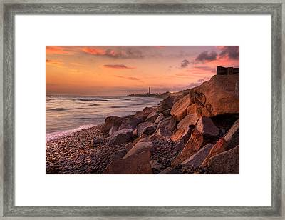 Heart Face Rock Framed Print by Peter Tellone