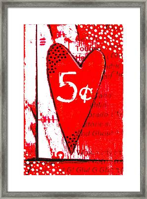 Heart Five Cents Red Framed Print by Carol Leigh
