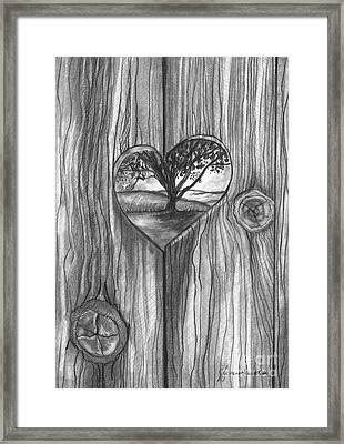 Framed Print featuring the drawing Heart In The Fence by J Ferwerda