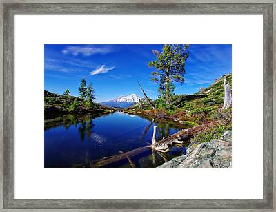Heart Lake And Mt Shasta Reflection Framed Print by Scott McGuire