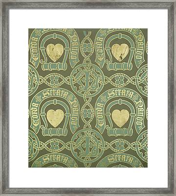 Heart Motif Ecclesiastical Wallpaper Framed Print