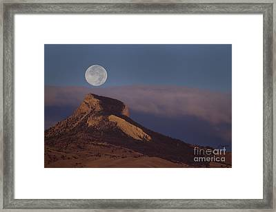 Heart Mountain And Full Moon-signed-#0325 Framed Print