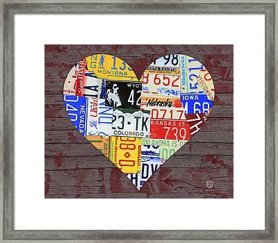 Heart Of America Usa Heartland Map License Plate Art On Red Barn Wood Framed Print by Design Turnpike