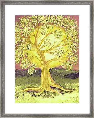 Heart Of Gold Tree By Jrr Framed Print