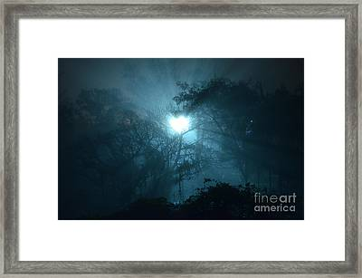 Heart Of Light On A Foggy Night Sky Framed Print by Carlos Alkmin