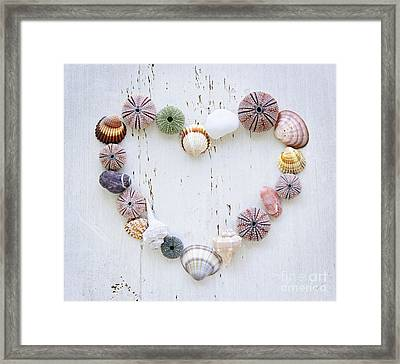 Heart Of Seashells And Rocks Framed Print