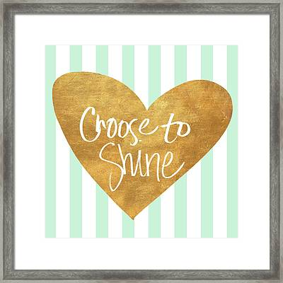 Heart On Mint Stripes IIi Framed Print by South Social Studio