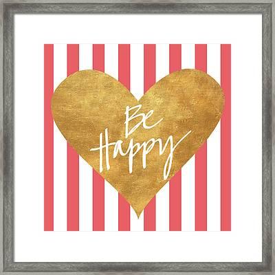 Heart On Stripes Iv Framed Print by South Social Studio