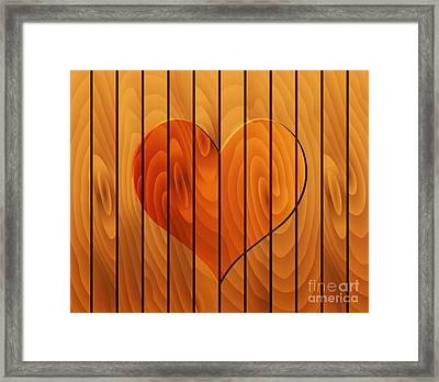 Heart On Wooden Texture Framed Print by Michal Boubin