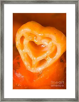Heart Pasta With Tomato Sauce Framed Print by Iris Richardson