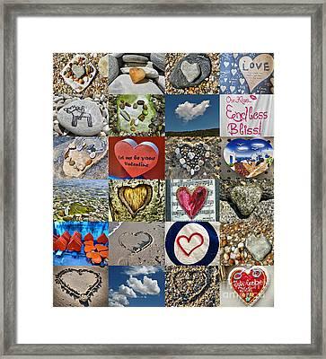 Heart Shape Collage  Framed Print by Daliana Pacuraru