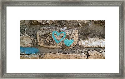 Heart Shape Painted On A Wall, Safed Framed Print