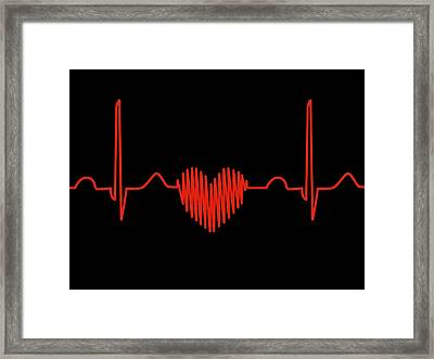 Heart-shaped Ecg Trace Framed Print
