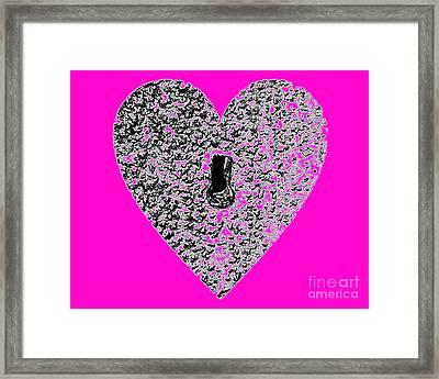 Heart Shaped Lock - Pink Framed Print