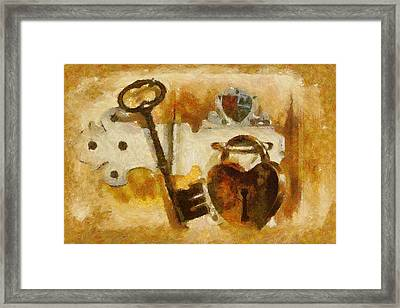 Heart Shaped Lock With Key Framed Print by Tracey Harrington-Simpson