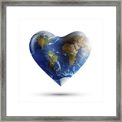 Heart-shaped Planet Earth On A White Framed Print