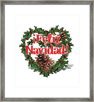 Heart Shaped Wreath - Feliz Navidad  Framed Print