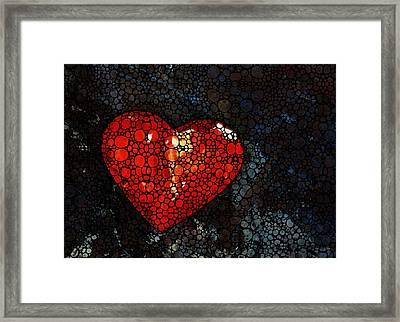 Heart - Stone Rock'd Art By Sharon Cummings Framed Print by Sharon Cummings