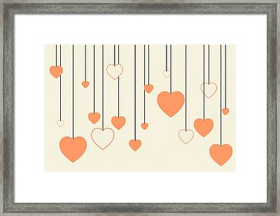 Heart Strings In Peach Framed Print by Chastity Hoff