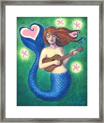 Framed Print featuring the painting Heart Tail Mermaid by Sue Halstenberg