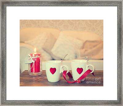 Heart Teacups Framed Print