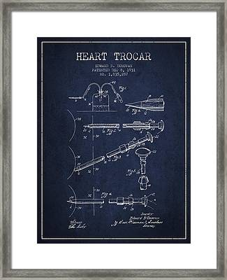 Heart Trocar Patent From 1931 - Navy Blue Framed Print by Aged Pixel