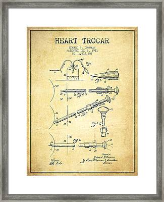 Heart Trocar Patent From 1931 - Vintage Framed Print by Aged Pixel